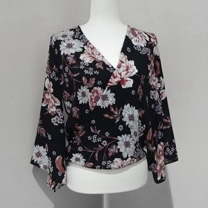 A. Byer Floral Flared Sleeved Blouse Top